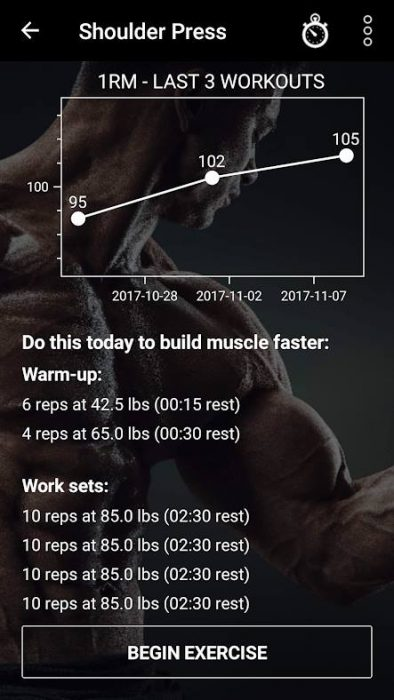 Warm-up sets in Dr. Muscle